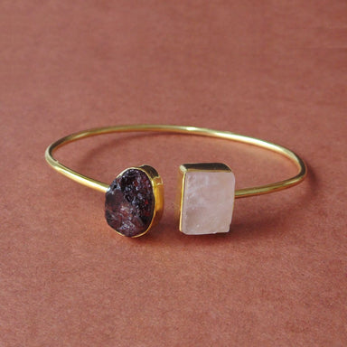 Artisan Handmade Rose Quartz And Garnet Double Birthstone Sleek Stackable Bangle - by Bhagat Jewels