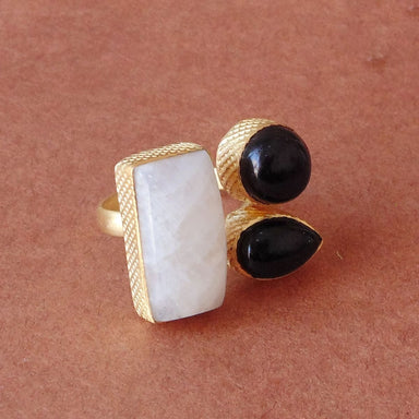 Artisan Made In 18K Yellow Gold Plated Rainbow Moonstone And Black Onyx Gemstone Ring - by Bhagat Jewels
