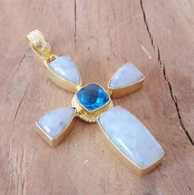 Artisan Made In Rainbow Moonstone And Blue Topaz Gemstone Cross Pendant