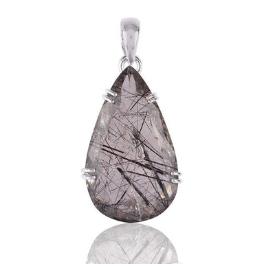 Necklaces Artisan Natural Tourmalinated Quartz Gemstone Handmade Solid Silver Pendant Real Necklace