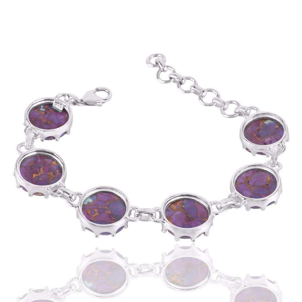 Bracelets Artisans Design Natural Purple Copper Turquoise Gemstone 925 Sterling Silver Cluster Bracelet.