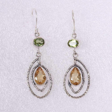 Earrings Artisans Unique Design Sterling Silver Dangle Earring With Citrine And Peridot Gemstone