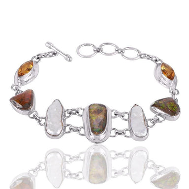 Bracelets Attractive Design Real Ammolite Citrine And Biwa Pearl Gemstone Sterling Silver Bracelet