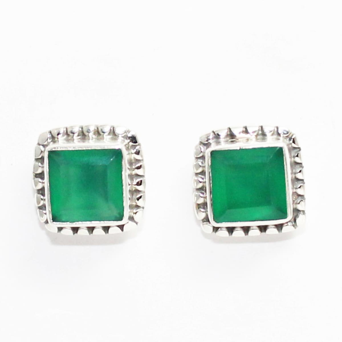 earrings Attractive GREEN ONYX Gemstone Stud Earrings Birthstone 925 Sterling Silver - by Jewelry Zone