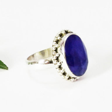 Rings Attractive NATURAL INDIAN BLUE SAPPHIRE Gemstone Ring Birthstone 925 Sterling Silver Fashion Handmade All Size Gift