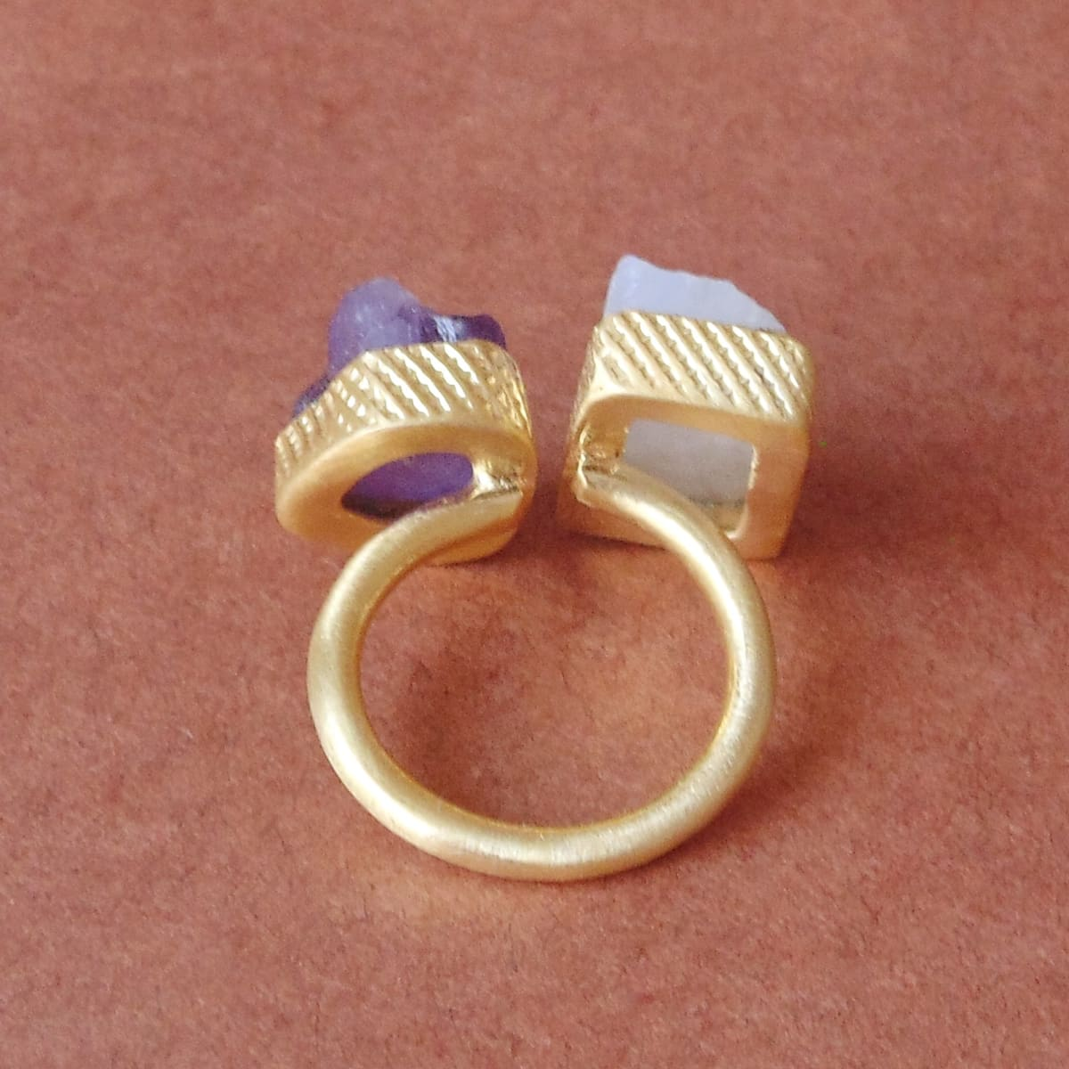 Attractive Style Real Rainbow Moonstone And Amethyst Birthstone Adjustable Ring - by Bhagat Jewels