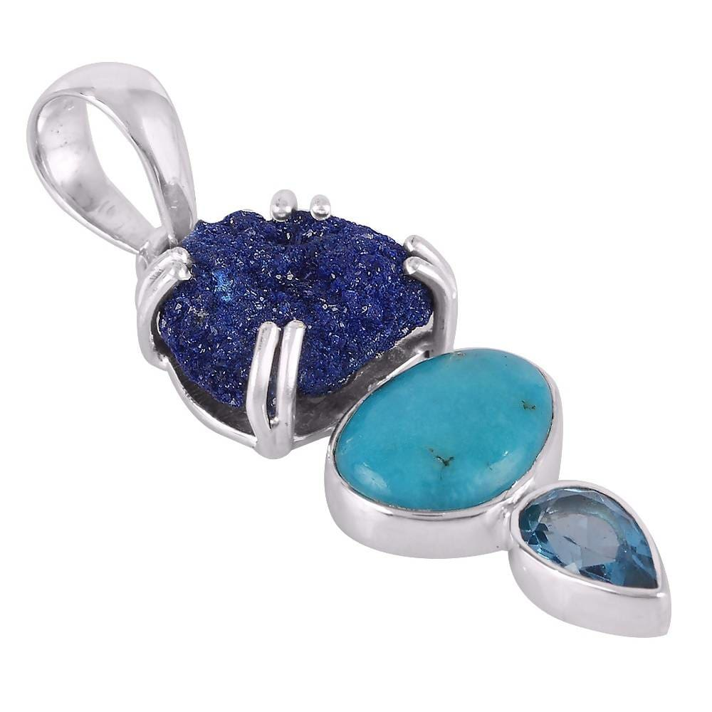 Necklaces Awesome Arizona Turquoise Azurite Durzy and Swiss Blue Topaz Gemstone Handmade Sterling Silver Pendant.
