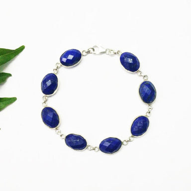 Bracelets Awesome NATURAL LAPIS LAZULI Gemstone Bracelet Birthstone 925 Sterling Silver Fashion Handmade Adjustable Size Gift