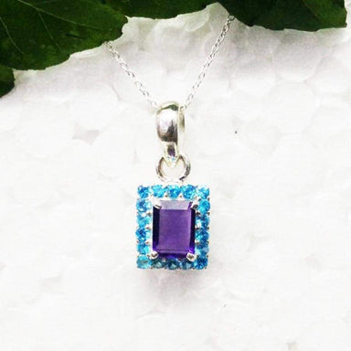 Necklaces Awesome PURPLE AMETHYST / BLUE TOPAZ Gemstone Pendant Birthstone 925 Sterling Silver Fashion Handmade Free Chain Gift