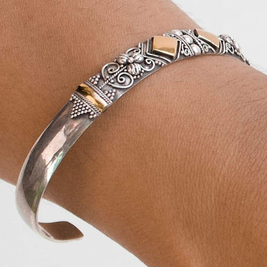Bracelets Bali Ornament Cuff Bracelet with Gold Accent 18K Handcrafted pattern sterling silver bangle - by Craftnez