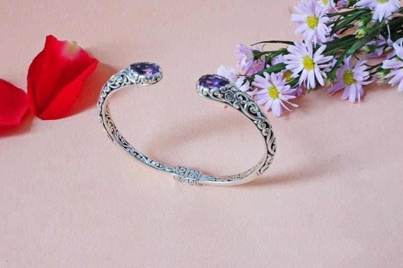 Bracelets Bali Silver Bracelet with Amethyst | Indonesian Cuff for Women - by Aurolius