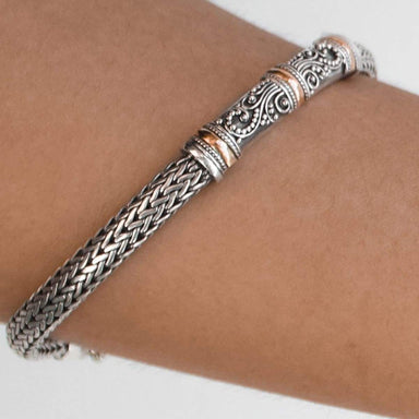 Bracelets Bali Silver Bracelet with Gold 18K Dragon Chain Motif Handmade Jewelry Gift - by Craftnez