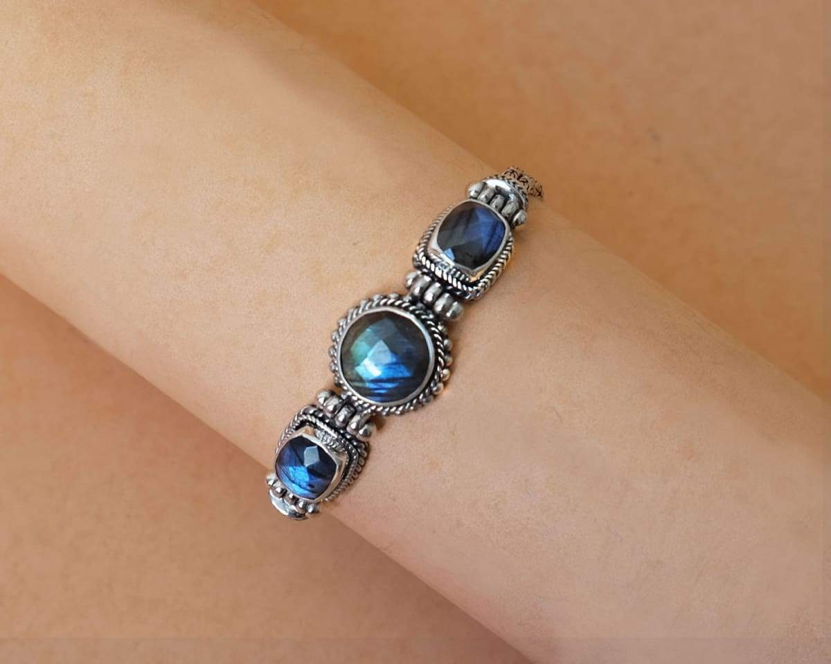 Bali Silver Bracelet for Women with Faceted Labradorite February Birthstone