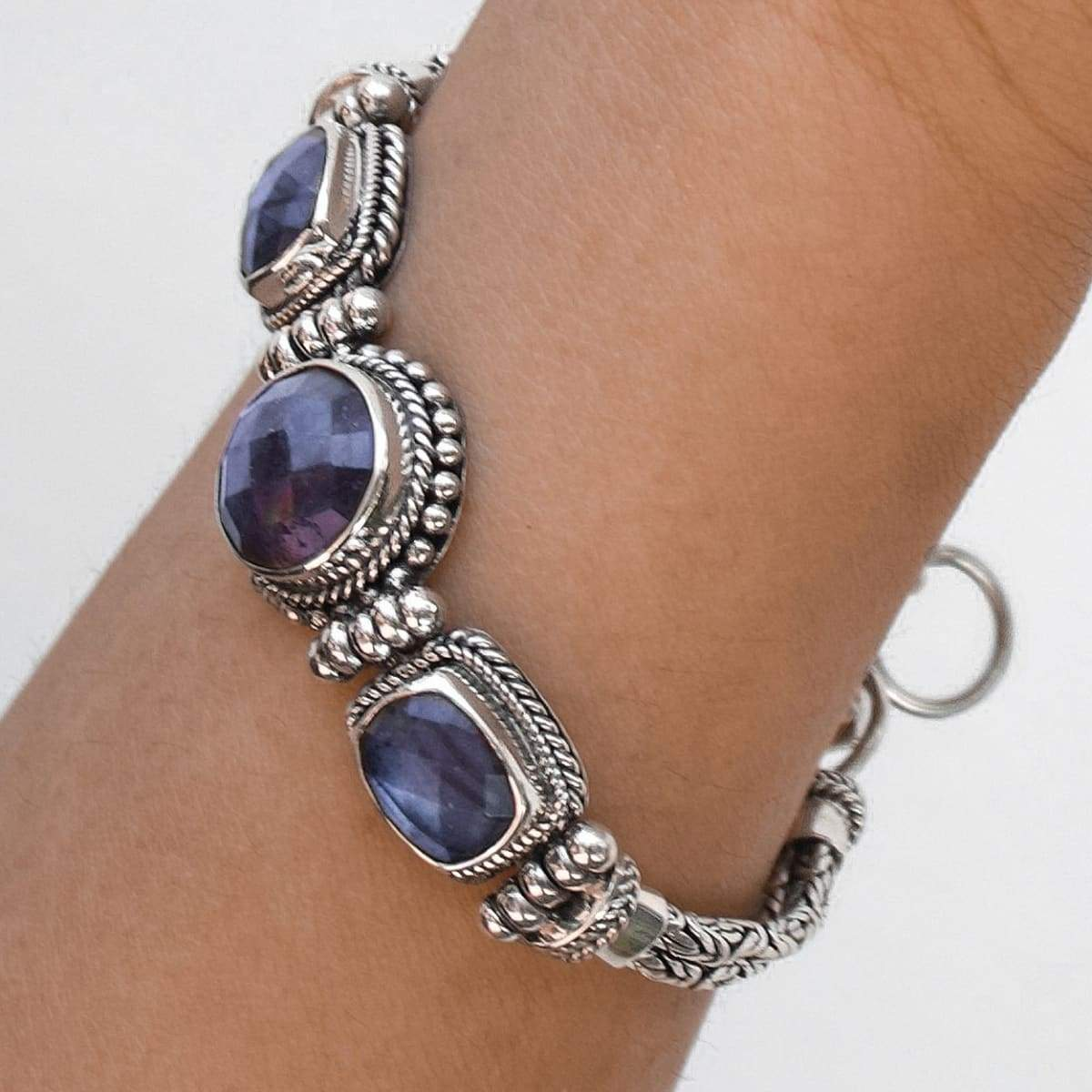Bali Silver Bracelet for Women with Faceted Labradorite February Birthstone - by Craftnez