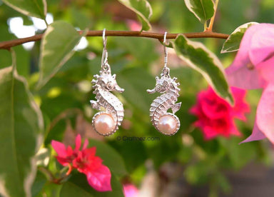 Earrings Bali Sterling Silver Seahourse with Freshwater Pearl for Women | Indonesia Jewellery