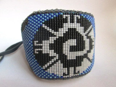 Bracelets Beaded Mayan Galactic Butterfly Cobalt and Light Blue Leather Cuff Bracelet for Men