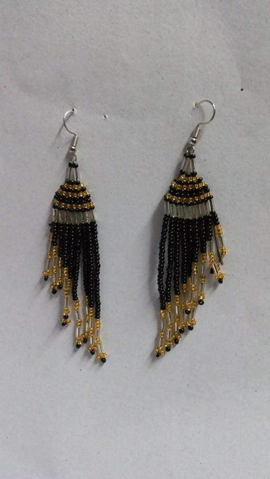 Earrings Beaded Tassel earrings African black Boho Gift for her Fringe - Title by Naruki Crafts