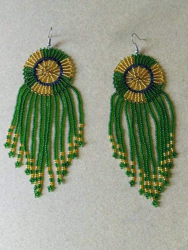 Earrings Beaded Tassel earrings African green Boho Gift for her Fringe - Title by Naruki Crafts