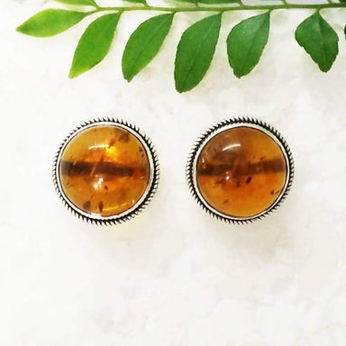 Earrings Beautiful BALTIC AMBER Gemstone Birthstone 925 Sterling Silver Fashion Handmade Stud Gift