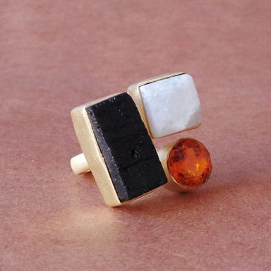 Beautiful Black Tourmaline Rainbow Moonstone And Citrine Birthstone Party Wear Fashion Ring - by Bhagat Jewels