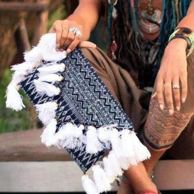 Beautiful Blue Batik Clutch with Tassels - Clutches