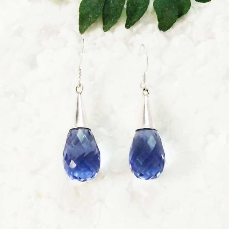 Beautiful BLUE IOLITE Gemstone Earrings Birthstone Earrings 925 Sterling Silver Earrings Fashion Handmade Earrings Dangle Earrings Gift