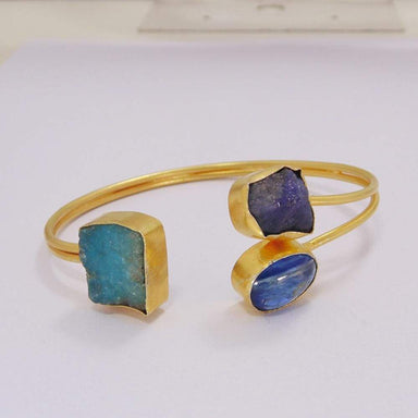 Beautiful Design Raw Apatite Tanzanite And Kyanite Gemstone Cuff Bangle