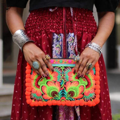 Beautiful Hmong Sunrise Orange Clutch - Clutches