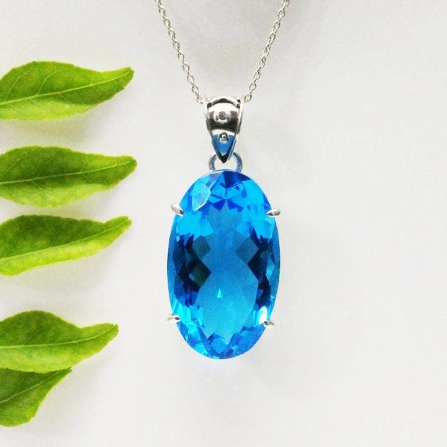 Necklaces Beautiful LONDON BLUE TOPAZ Gemstone Pendant Birthstone 925 Sterling Silver Fashion Handmade Free Chain Gift