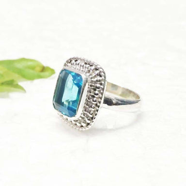 Beautiful London Blue Topaz Gemstone Silver Ring - Rings