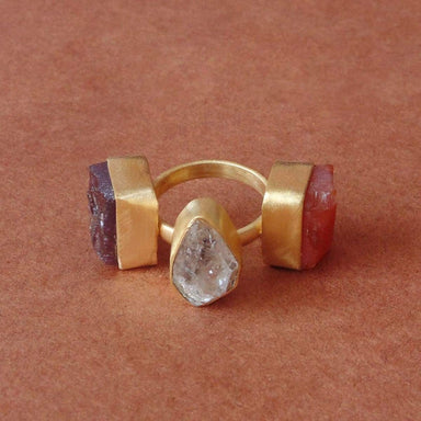 Beautiful Matte Gold Plated Raw Herkimer Diamond Garnet And Carnelian Gemstone Statement Ring - by Bhagat Jewels