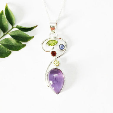 Necklaces Beautiful MULTI GEMSTONE Pendant Birthstone 925 Sterling Silver Fashion Handmade Free Chain Gift - by Jewelry Zone