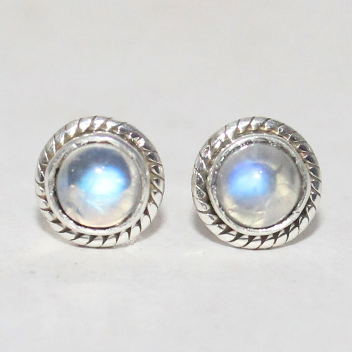 earrings Beautiful NATURAL BLUE FIRE RAINBOW MOONSTONE Gemstone Earrings Birthstone 925 Sterling Silver Fashion Handmade Jewelry Stud Gift -
