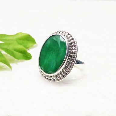 Rings Beautiful Natural Emerald Gemstone Silver Ring