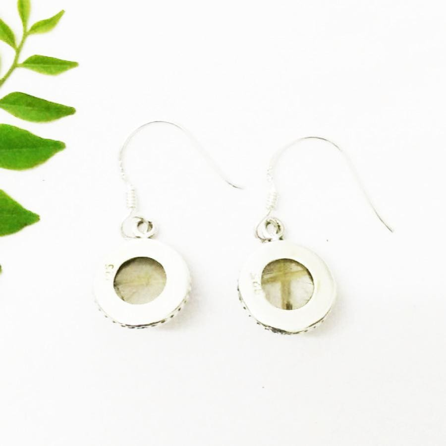 Earrings Beautiful NATURAL GOLDEN RUTILE Gemstone Birthstone 925 Sterling Silver Fashion Handmade Dangle Gift