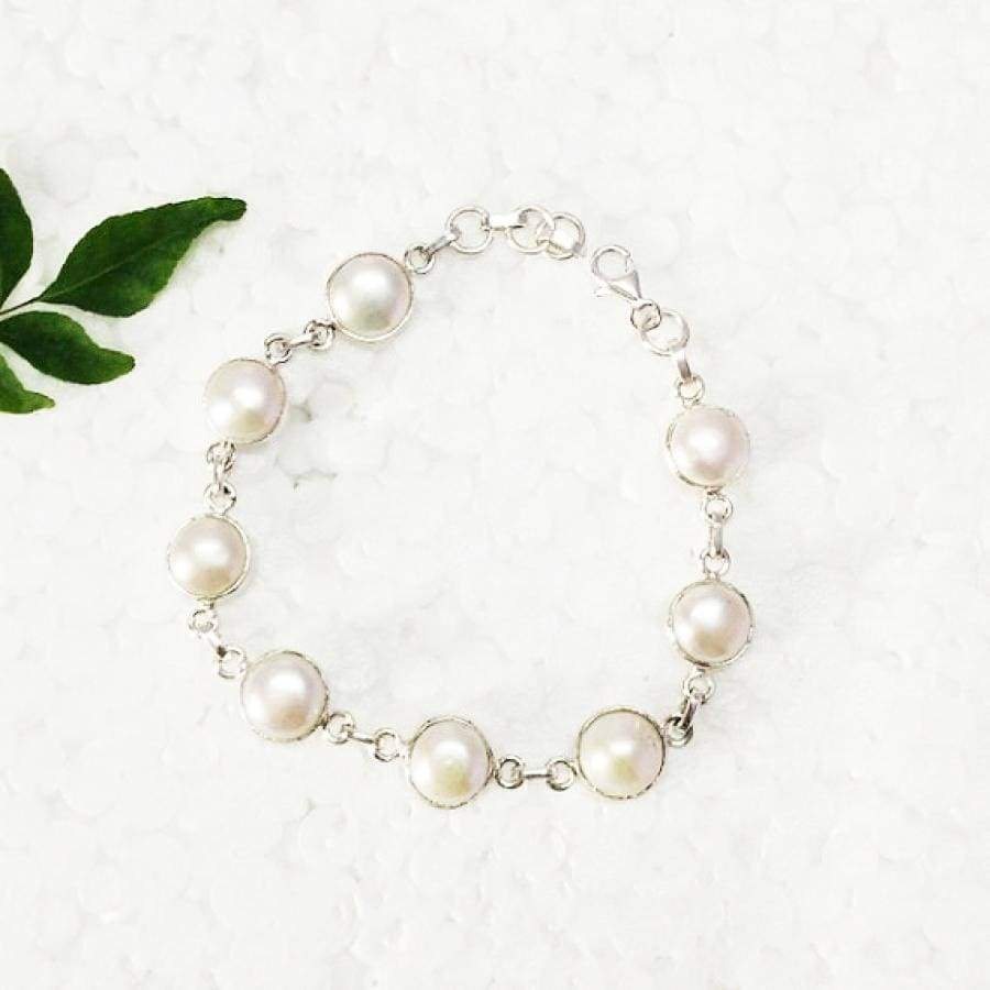 Bracelets Beautiful NATURAL PEARL Gemstone Bracelet Birthstone 925 Sterling Silver Fashion Handmade Adjustable Size Gift