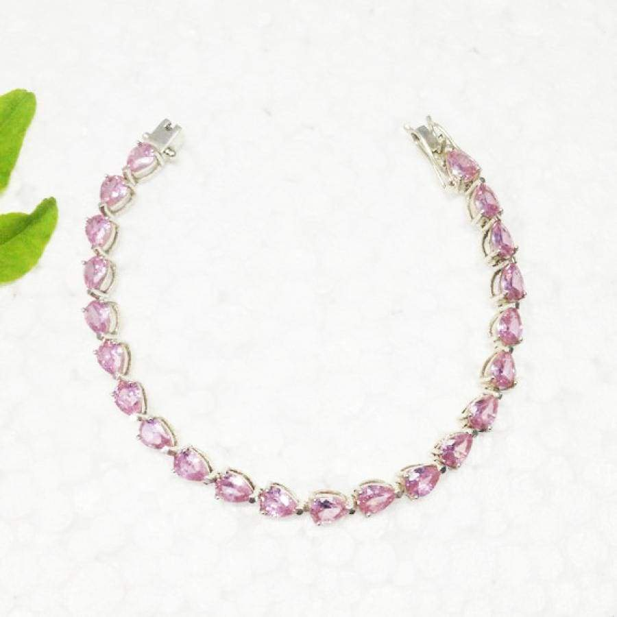 Bracelets Beautiful PINK TOPAZ Gemstone Bracelet Birthstone 925 Sterling Silver Fashion Handmade All Size Gift