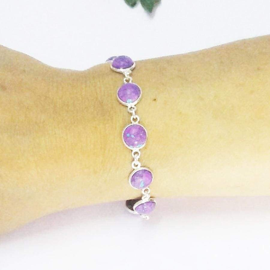 Bracelets Beautiful PURPLE TURQUOISE Gemstone Bracelet Birthstone 925 Sterling Silver Fashion Handmade Adjustable Size Gift