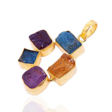 Beautiful Raw Amethyst And Citrine Multi Color Gemstone Wedding Pendant