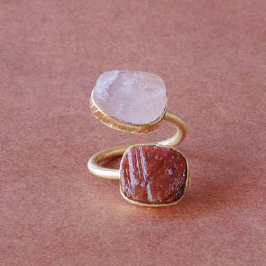 Beautiful Red Ruby And Rose Quartz Gemstone Bezel Set Bypass Stacking Ring For Birthday Gifts - by Bhagat Jewels