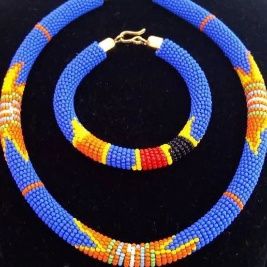 Necklaces Beautiful Set of Blue Maasai Beaded Necklace and Bracelet - by Naruki Crafts