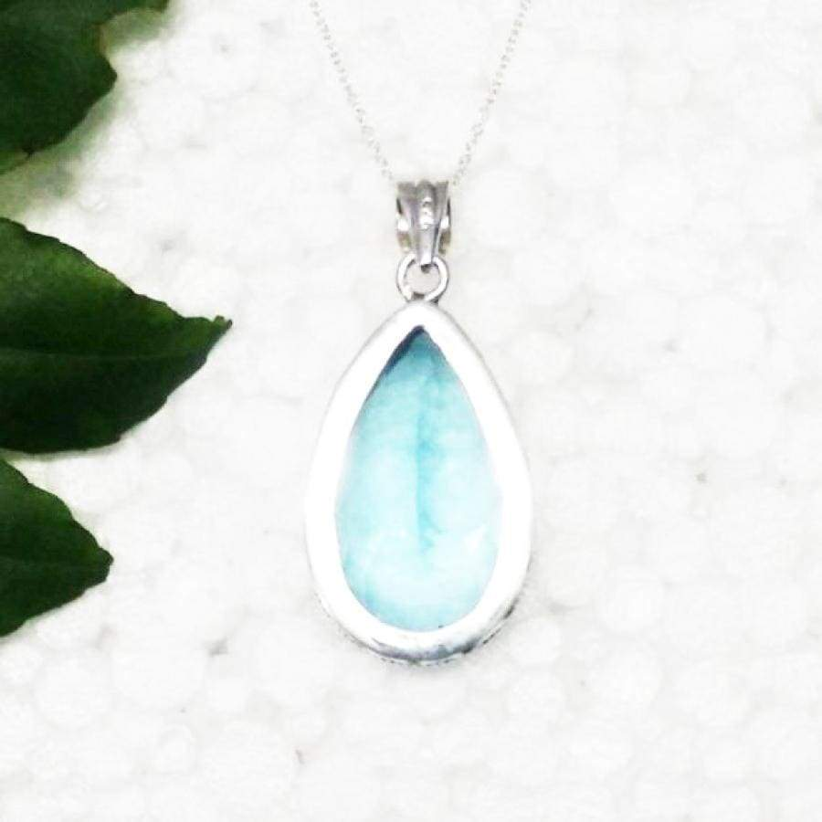 Necklaces Beautiful SWISS BLUE TOPAZ Gemstone Pendant Birthstone 925 Sterling Silver Fashion Handmade Free Chain Gift