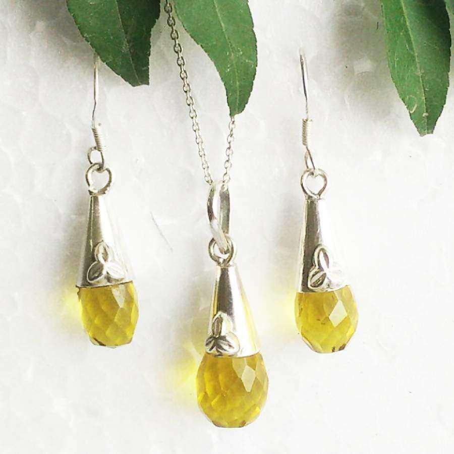 Earrings Beautiful YELLOW CITRINE Gemstone Pendant Set 925 Sterling Silver Handmade Birthstone Jewelry Free Chain Gift