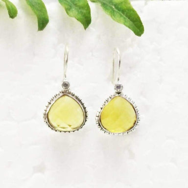 Earrings Beautiful YELLOW CITRINE / WHITE TOPAZ Gemstone Birthstone 925 Sterling Silver Fashion Handmade Dangle Gift