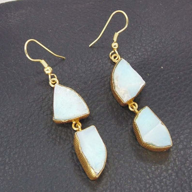 Beauty 18K Gold Plated Natural Blue Larimar Gemstone Bezel Set Dangle Earrings