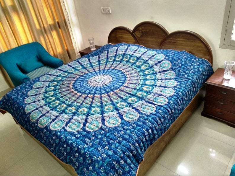Blankets & Quilts Bedroom Quilt Blue Kantha Indian Quilted Bedding Throw Queen size Blanket FREE SHIPPING - by COLORS OF INDIA STUDIO