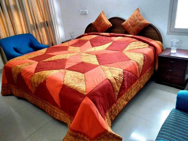 Bedspread Quilt King Size,Indian Quilts,King size patchwork comforter quilt sets duvet FREE SHIPPING - by COLORS OF INDIA STUDIO