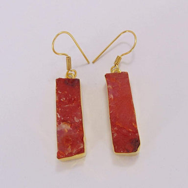 Bezel Set Natural Carnelian Gemstone 18K Gold Plated Dangle Earrings