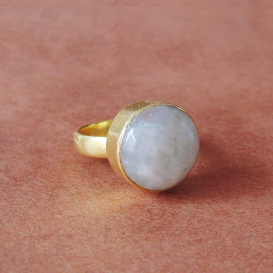 Bezel Set Natural Rainbow Moonstone June Birthstone Christmas Gift Stack Ring
