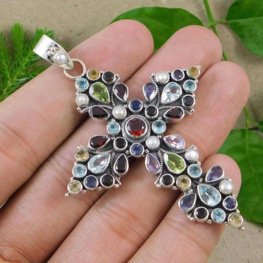 Necklaces Big multi gemstone Cross Pendant 925 sterling silver handmade jewelry
